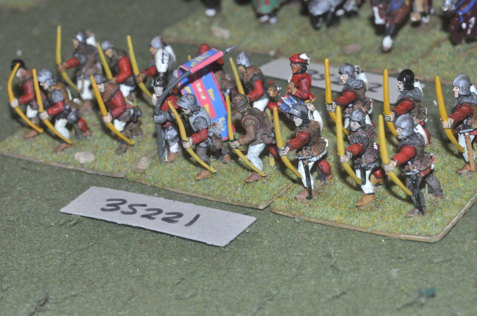 25mm medieval   burgundian - archers (plastic) 18 figures - inf (35221)