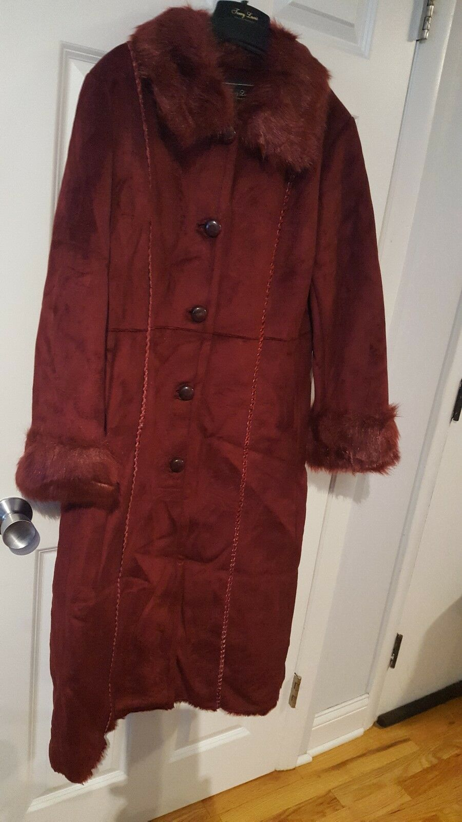 Terry Lewis Classic Luxuries Burgundy  Faux Fur Full Length Coat NWOT Size PM