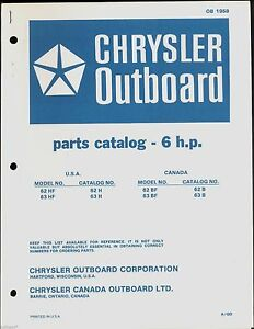 A Gd Chrysler 6hp Outboard Motor Parts Manual Ob 1958 Ebay