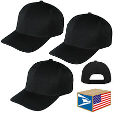 3 LOT PRO BASEBALL CAP SOLID Black BLANK CURVED BRIM ADJUSTABLE SPORTS HAT!