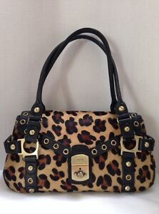rafe new york Leopard Satchel Calf Hair Leather Handbag Purse | eBay