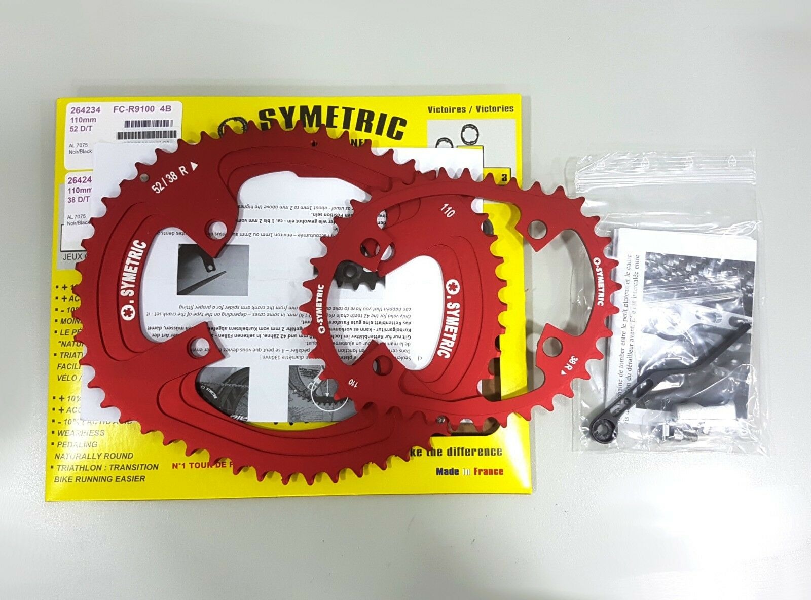 Osymetric BCD110x4 52+38T FC-R9100 9100 Edition Bicycle Chainring Set Red