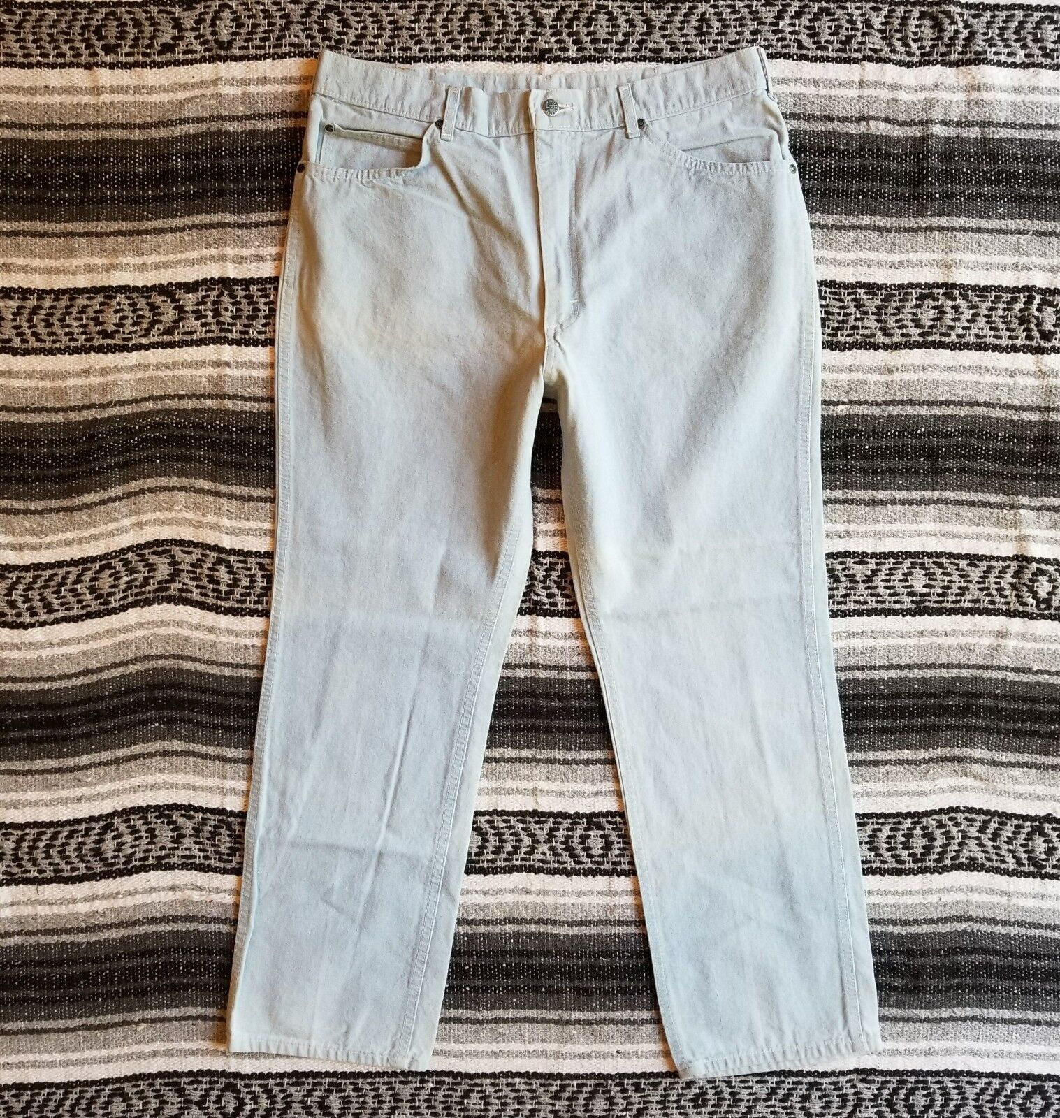 Mens Vintage Lee Sz 38 x 30 Made in USA Straight Denim Jeans Light Wash Bleached