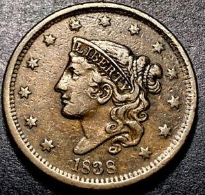 1838 Coronet Head Large Cent 1c Rare N-11 Variety R-4 High Grade Nice Color