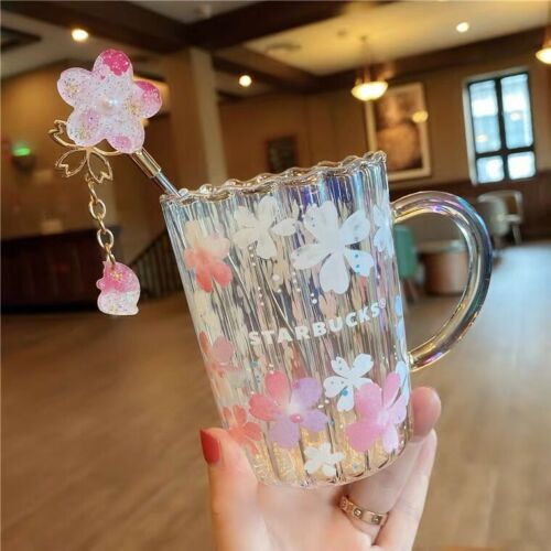 HOT Japan Starbucks Sakura Glass W// Stir stick Limited Edition Mug Tea Cups Gift