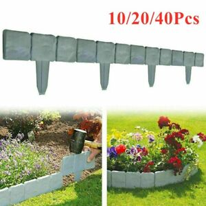 Set of 20 Cobbled Stone Effect Garden Edging Plastic Hammer-In Lawn Palisade
