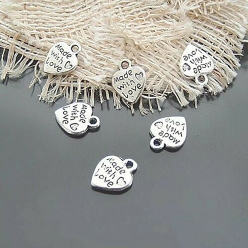 50 X Made With Love Charm Heart Alloy Silver Tone Tags Crafts Charms Pendants