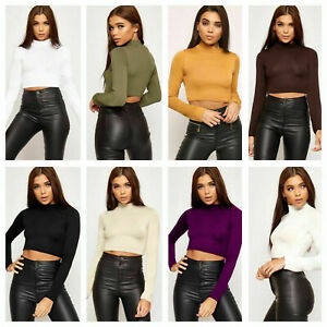 LADIES-WOMENS-LONG-SLEEVE-PLAIN-POLO-TURTLE-NECK-ROLL-NECK-CROP-TOP-JUMPER
