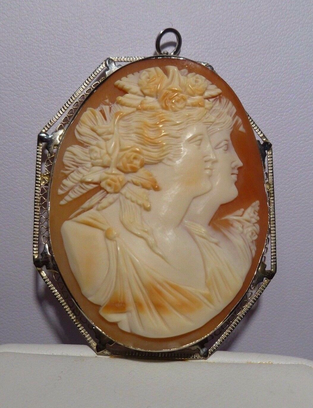Fabulous Double 2 Faces 14k Y gold Filigree Cameo Shell Pendant Brooch Vintage