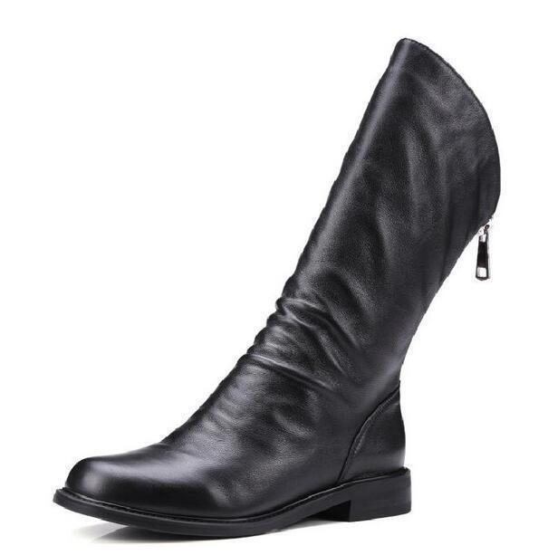 Mujer botas botas botas Mitad de Pantorrilla Zapatos Punk de Cuero con Cremallera en la espalda euro Bloque Bajo Tacones Zapatos V60  Obtén lo ultimo