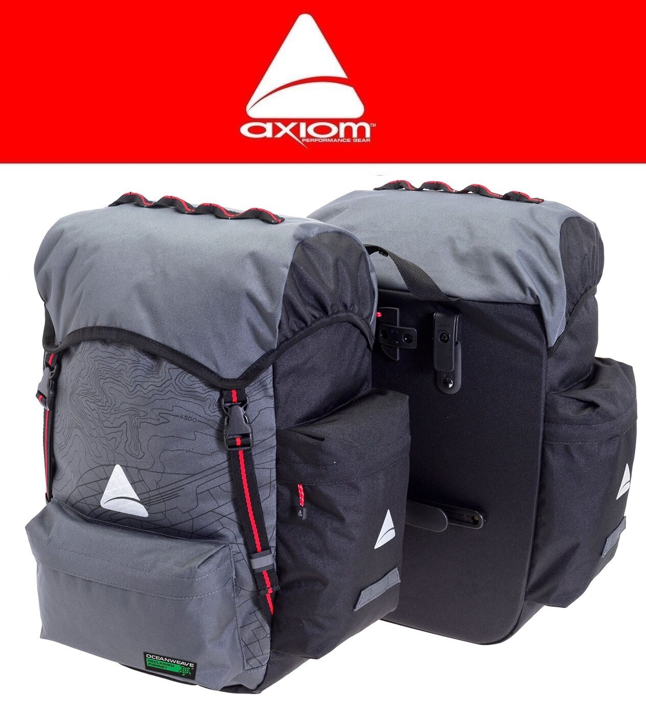 Axiom Seymour Bags Oceanweave P55+ Bike Panniers Pair Commuter Bags Seymour Touring Saddlebag 2f8255
