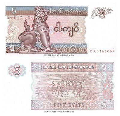 Myanmar 5 Kyats 1996 Replacement CX Prefix P-70r Banknotes UNC