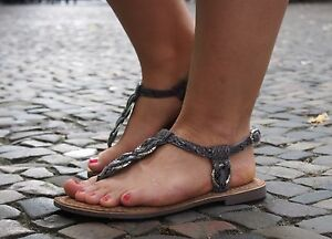 LAZAMANI-Damenschuhe-Grey-grau-Sommerschuhe-Echtleder-Innensohle-Sandale-372-NEU