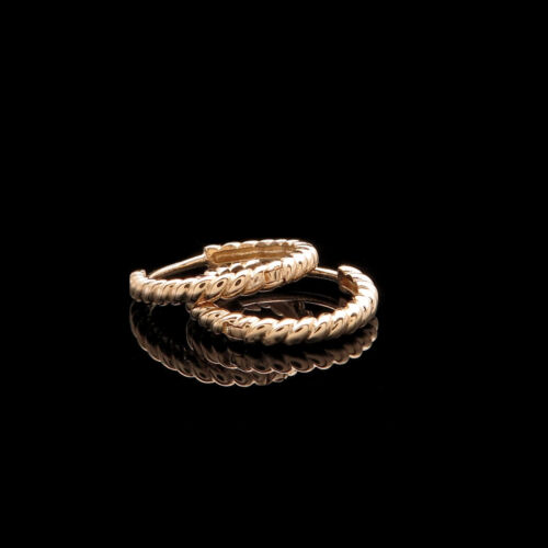 Huggie Hoop Earrings Solid 14K Yellow Gold Twisted Rope Cable Design 14mm