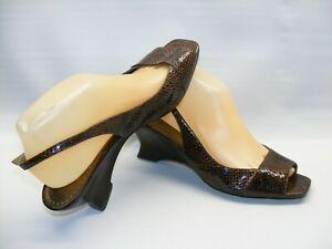 "Franco Sarto Women's Size 9 M Brown Snakeskin 2.25"" Wedge Heels Slingback Shoes"