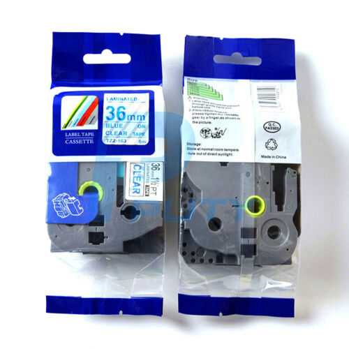 8m Blue on Clear Label Tape TZ 163 Tze 163 Compatible for Brother P-Touch 36mm