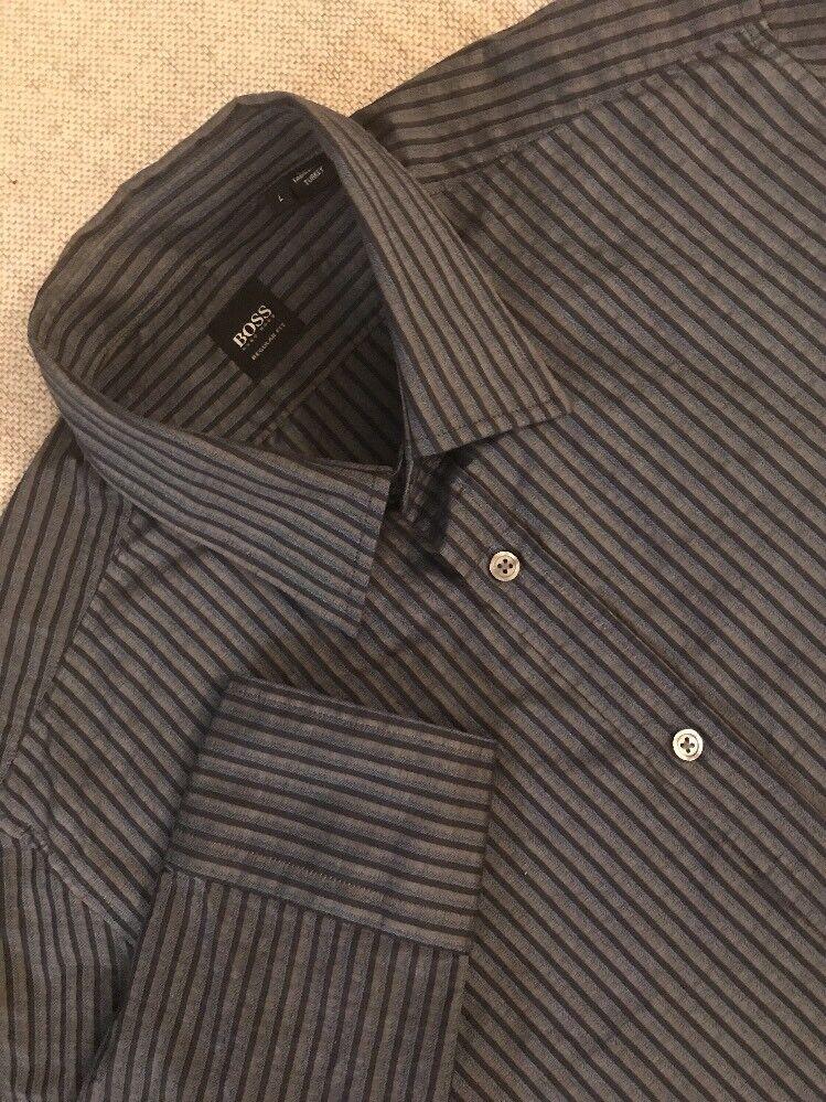 Hugo Boss Regular Fit Men's Stripe Dress Shirt Button Up Size L MINT   C8