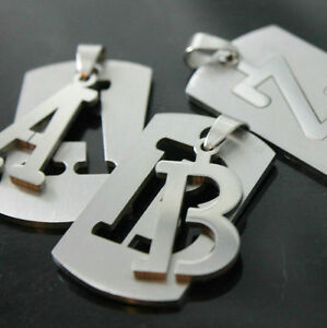 DOG TAG ARMY Pendant Stainless Steel Lnitial Letter H Necklace Military Gift