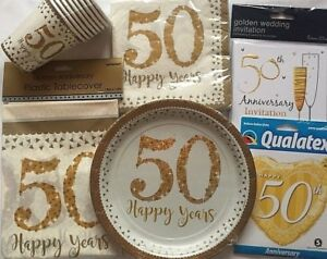 Golden-50th-Wedding-Anniversary-Tableware-Range-Celebrations-50th-Wedding-Party