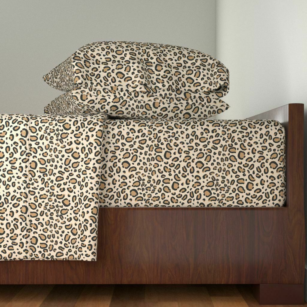 Animal Print Leopard Print Tan Natural 100% Cotton Sateen Sheet Set by Roostery