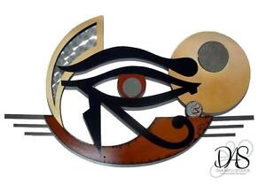 Mythical Unique Egyptian Art Eye Of Horus Wood Metal Mirror Wall Sculpture Ebay