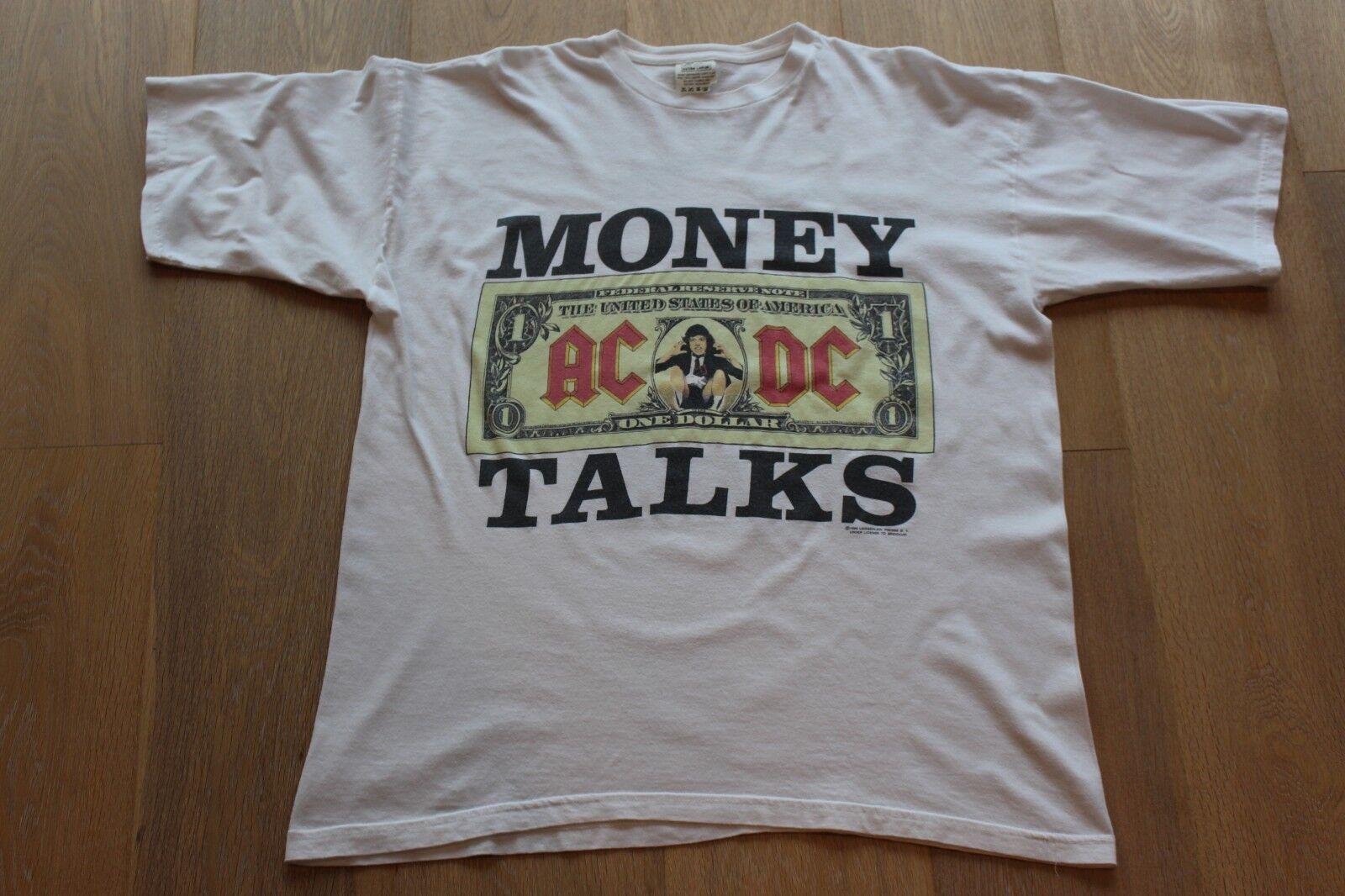 Vintage 90s AC/DC Money Talks Tee Größe XL Weiß T-shirt 1990 / 91 Stripper ACDC