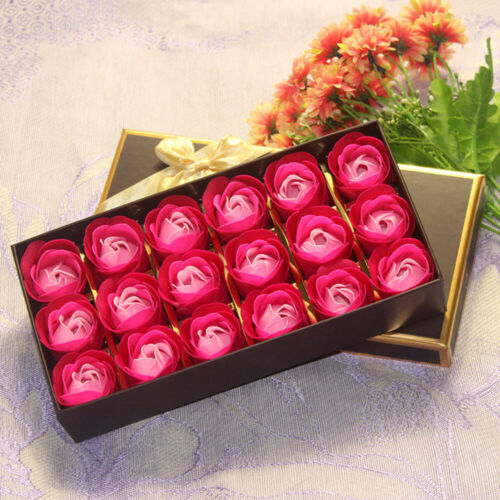 18Pcs Scented Rose Flower Petal Gift Box With Bear Gold Rose Bath Body Soap Gift