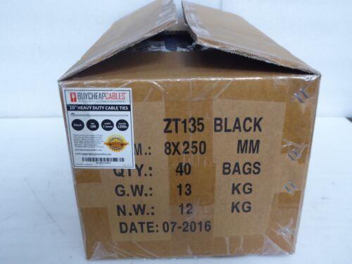 10/'/' Heavy Duty Cable Zip Ties Black 7.5mm 120LB 4000 PCS