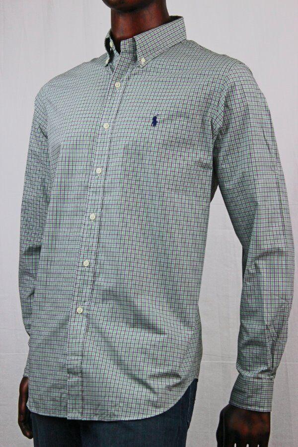 Ralph Lauren Long Sleeve Buttondown Dress Shirt Green,White and Navy Plaid NWT