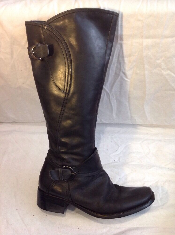 Cara London Black Knee High Leather Boots Size 38