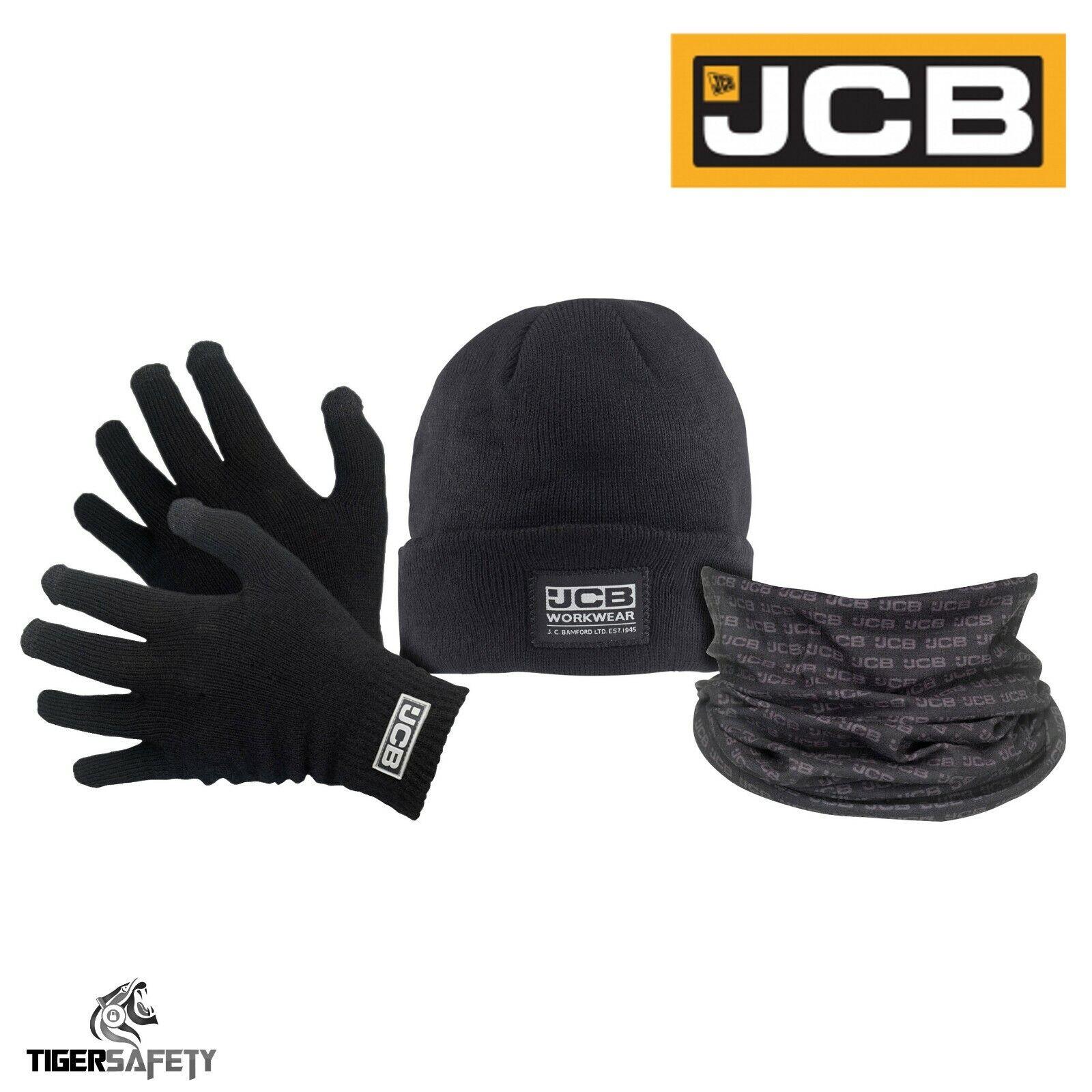 JCB Winter Set Black Thermal Gloves Beanie Hat Snood Scarf Christmas Gift set