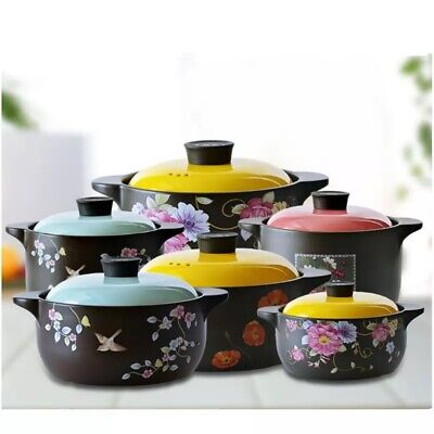 Glazed Flameproof Ceramic Cooking Pot Flameware Casserole Healthy Clay Cookware