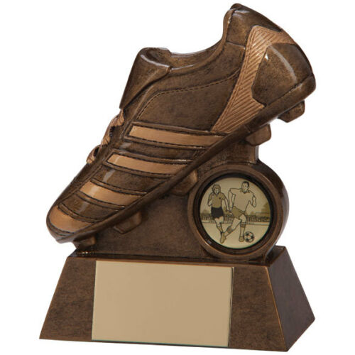 "Résine trophées FOOTBALL budget Scorcher football boot Award 4 /""Gravure gratuite"