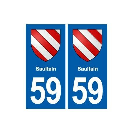 59 Saultain blason autocollant plaque stickers ville arrondis