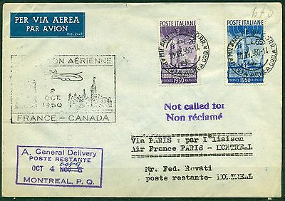 V8861 PRIMO VOLO FIRST FLIGHT 1950 AIR FRANCE Paris - Montreal, Primo collegamen