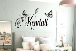 Image Is Loading BUTTERFLY Wall Decal Sticker Personalized NAME Vinyl Girl