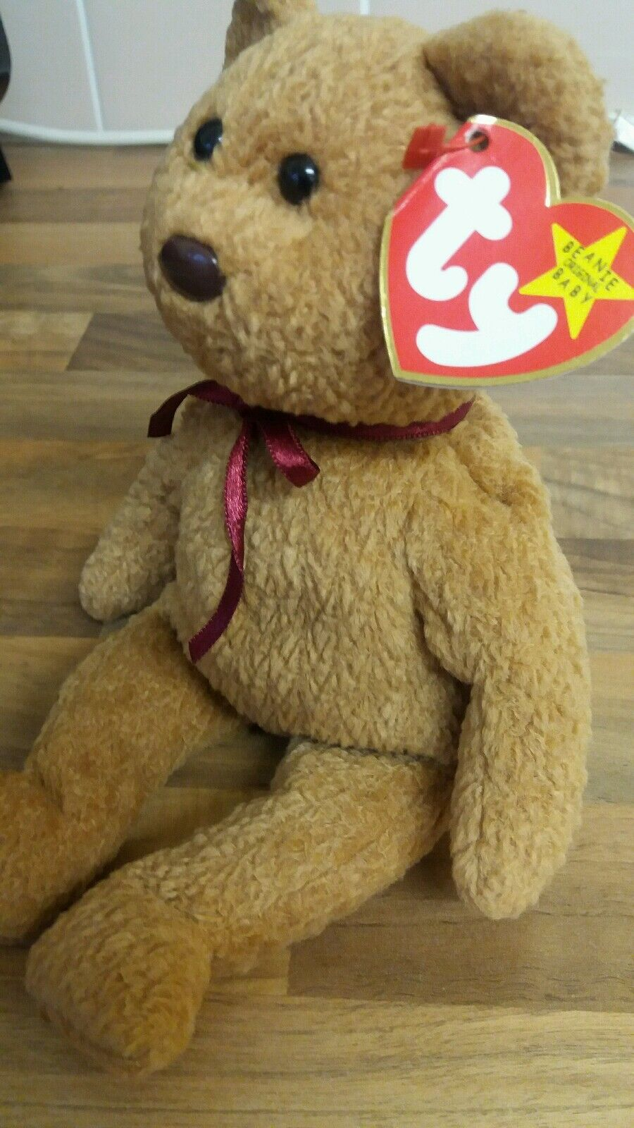 TY Beanie Baby Curly Bear  Rare Error Tag  Retired Collectable  CHARITY BEANIE