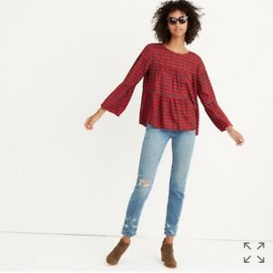 Madewell-Women-039-s-Plaid-Tiered-Button-Back-Top-Medium