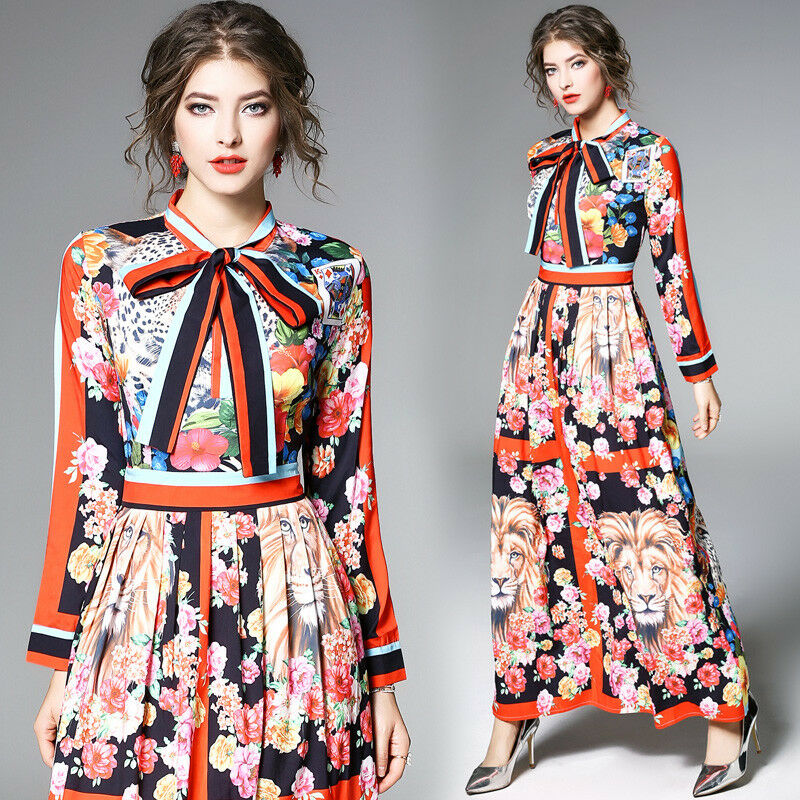Spring Summer women's printing contrast color pleated Dress Wedding Dress New Y1