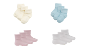 Boys Baby Boys Warm Terry Socks 3 Pack Ankle High Cotton Age 0-4 Years
