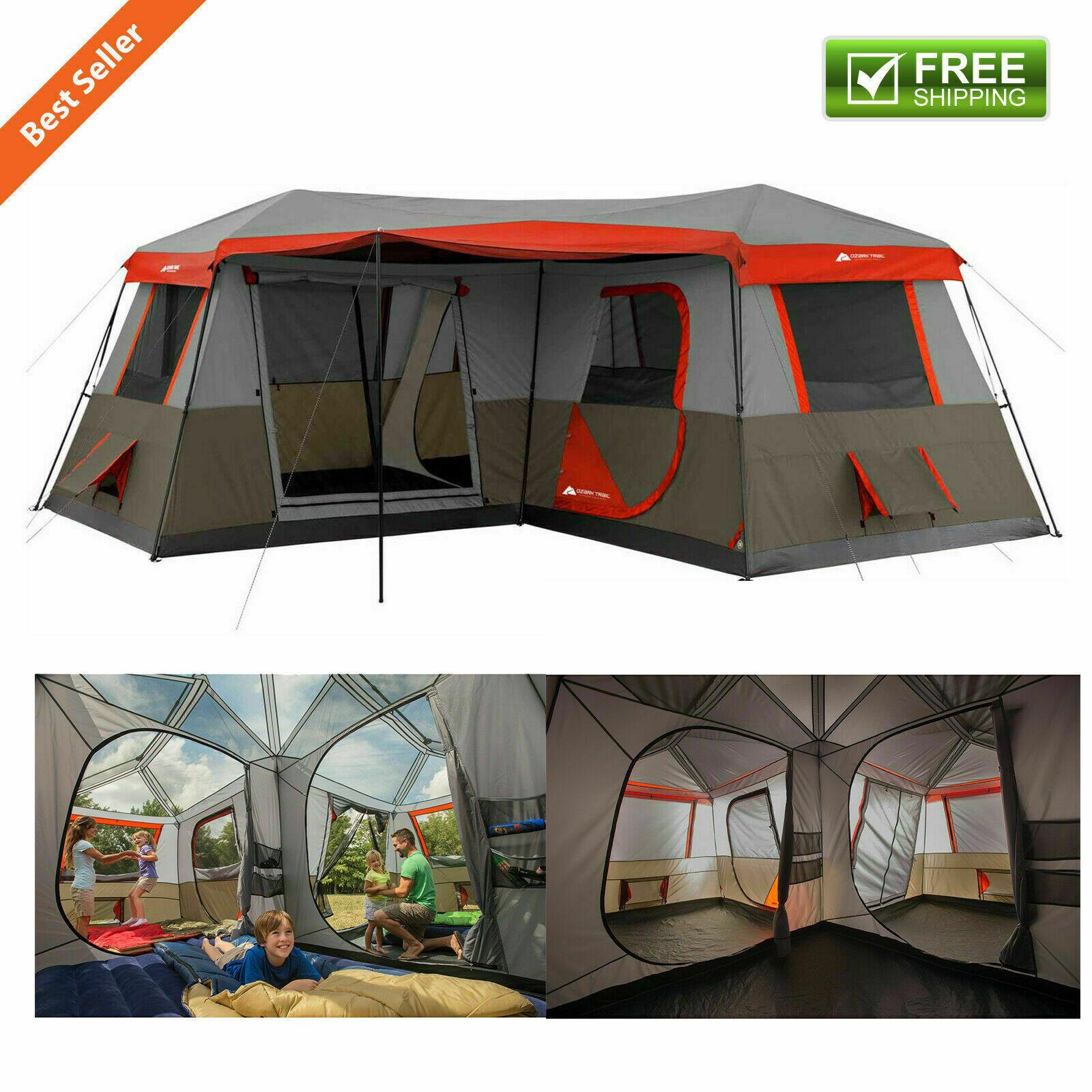 16 X 16' 3 habitación Cochepa Cabaña Pabellón Festival de  campaña para Exterior 12 personas Refugio Set  entrega rápida