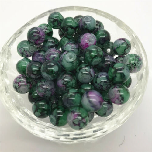 New DIY 8mm 30 Pcs Round Pearl Loose Beads Double Colors Glass Jewelry Making#31