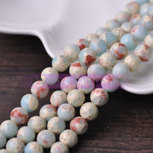 Imperial Jasper Piedra Preciosa Piedra Natural Redonda suelta espaciador perlas Lote a granel 4 ~ 10 mm