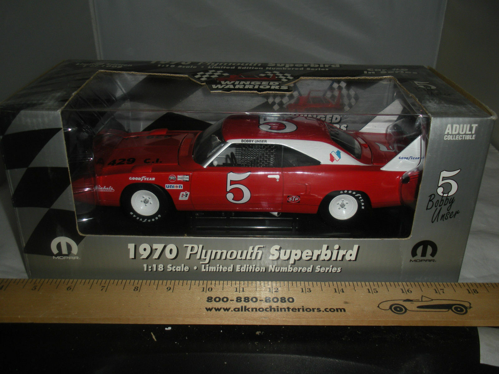 1 18 ertl 1970 Plymouth Superbird bobby nuestro winged Warriors rosso & bianca