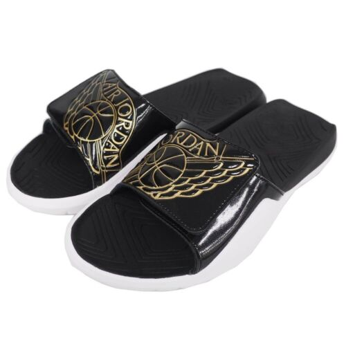 Nike Jordan Hydro 7 Men/'s Slides Sandals NEW AA2517 021 Black Gold White Sz 10