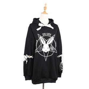 Kawaii Rabbit Pentagram Printed Hoodies Casual Lace Up Autumn Women Hoodie by Unbranded