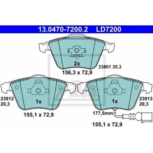 ATE Ceramic AUDI A3 SEAT LEON SKODA SUPE 8P1 AUDI A3 Sportback 8PA 1P1