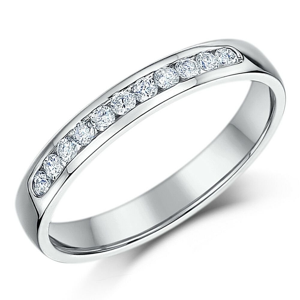 9ct White gold Half Eternity Ring Court Shaped 3mm
