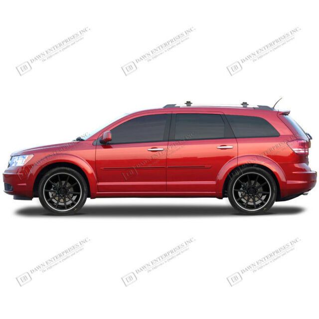 BODY SIDE Moldings PAINTED With RED Trim Insert For: DODGE JOURNEY 2009-2017
