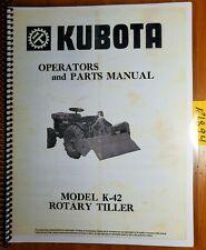 Kubota K 42 K42 Rotary Tiller Owners Operators Amp Parts Manual 7 084 825 1012